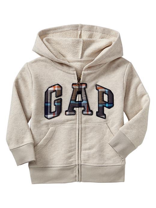 Gap Plaid Arch Logo Hoodie - Oatmeal heather b0210