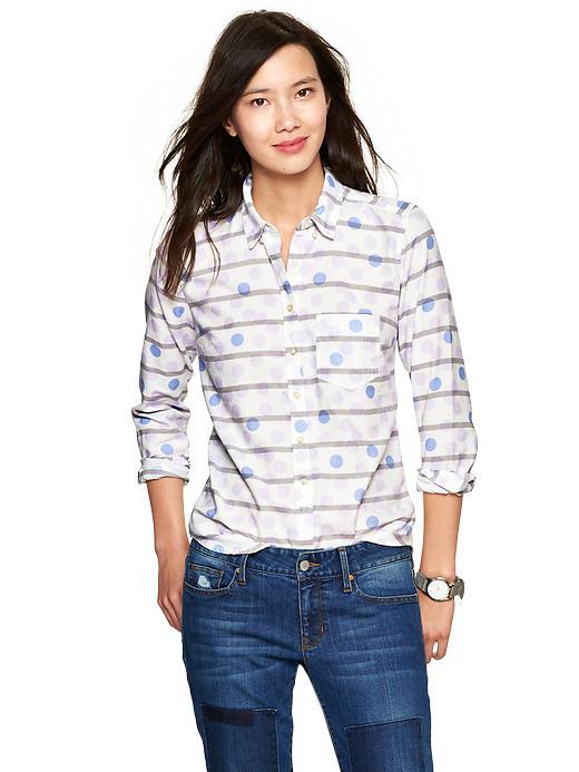 Gap Dots & Stripes Shrunken Boyfriend Oxford Shirt - Lilac dot - Gap Canada