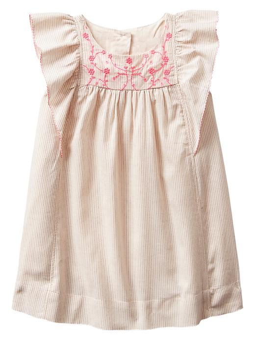 Gap Embroidered Neon Floral Flutter Dress - Bleach - Gap Canada