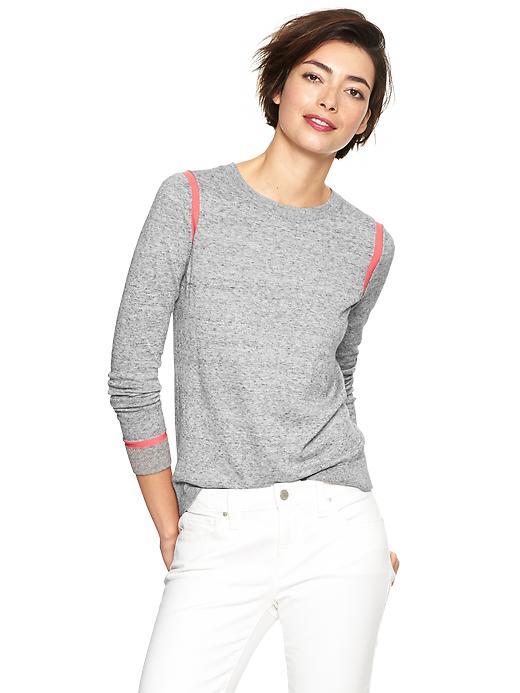 Gap Contrast Trim Heathered Sweater - Grey heather