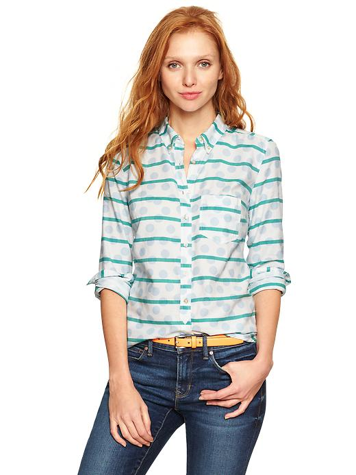 Gap Dots & Stripes Shrunken Boyfriend Oxford Shirt - Peppermint dot - Gap Canada