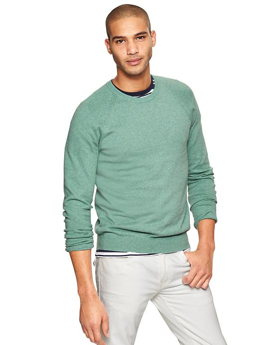Gap Cotton Cashmere Crew Sweater - Green heather - Gap Canada