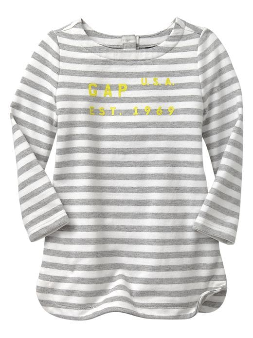 Gap Logo Graphic Stripe Dress - Off white