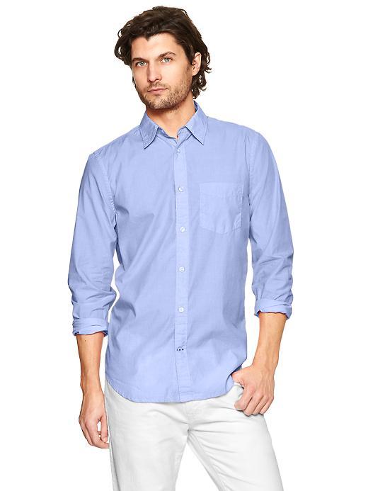 Gap Lived In Wash Solid Shirt - Blue