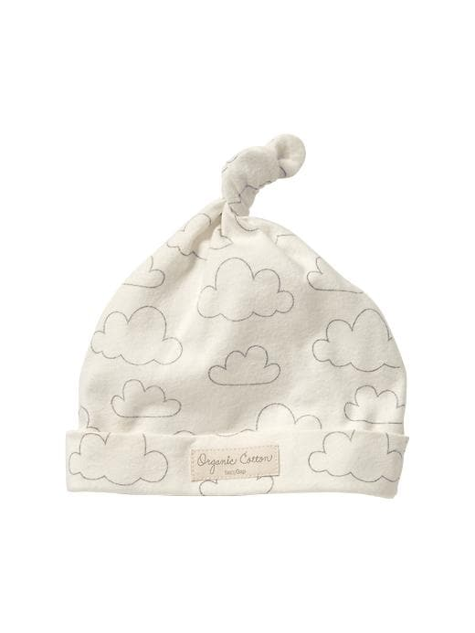 Gap Organic Cloud Print Knot Hat - Ivory frost - Gap Canada