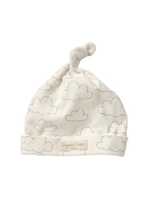 Gap Organic Cloud Print Knot Hat - Ivory frost - Gap Canada