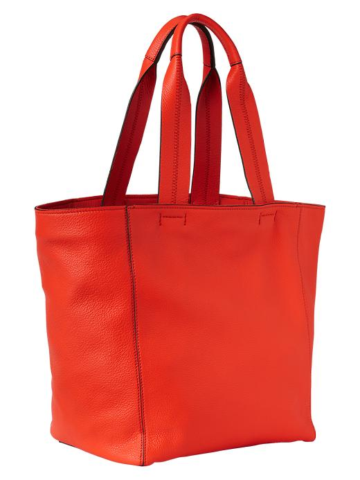 Gap Large Leather Tote - New dark orange - Gap Canada