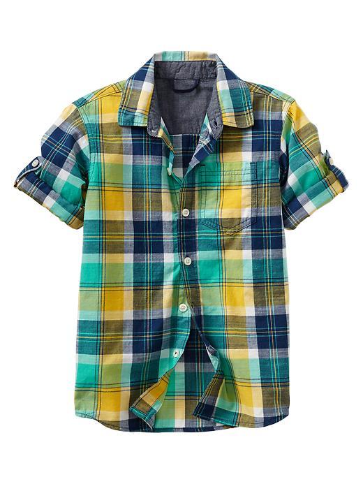 Gap Convertible Plaid Shirt - Yellow plaid