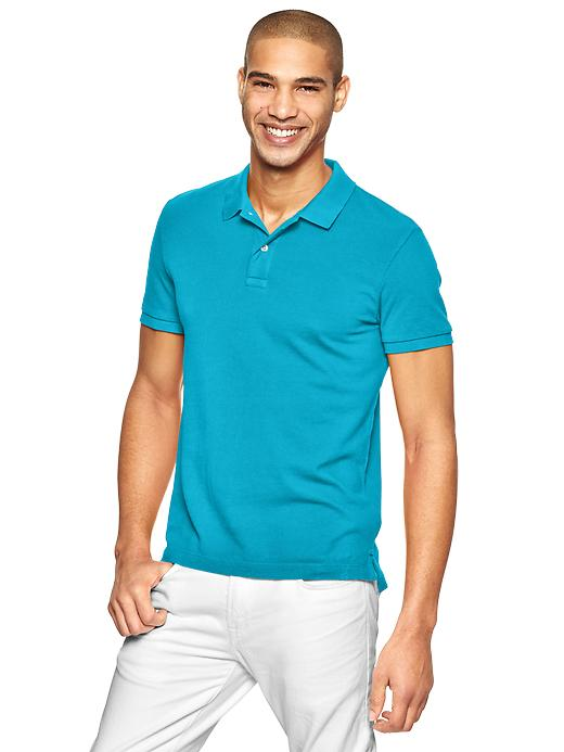 Gap Modern Pique Polo - Cyan blue