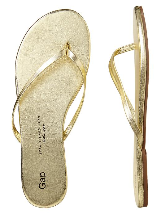 Gap Leather Flip Flops - Gold - Gap Canada