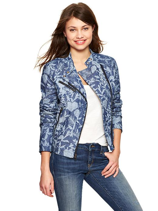 Gap Quilted Floral Chambray Moto Jacket Medium Chambray Brand Name