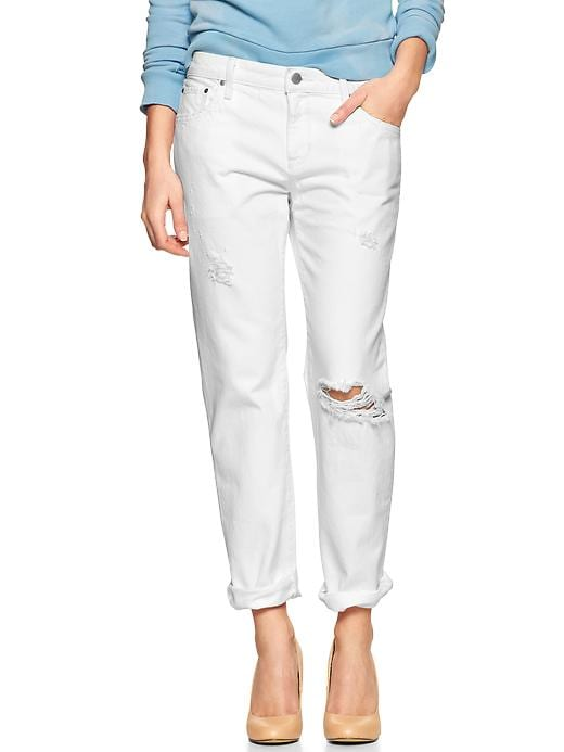 Gap 1969 Destructed Sexy Boyfriend Jeans - White - Gap Canada