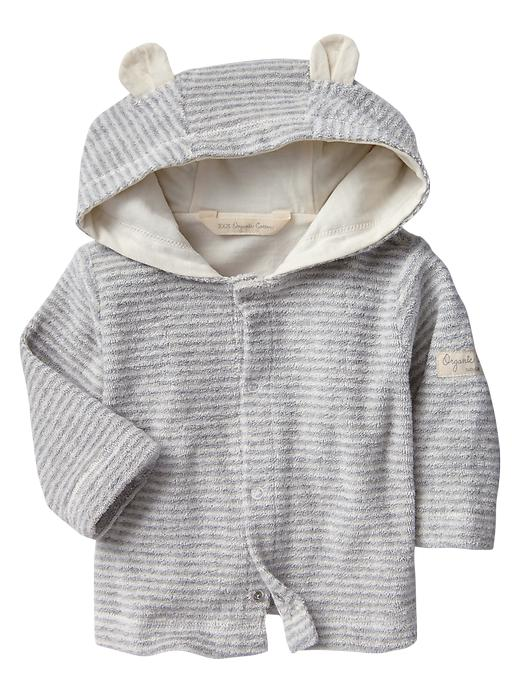 Gap Organic Terry Striped Bear Hoodie - Ivory frost - Gap Canada