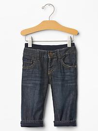 Jean doublé avec taille en tricot (fini foncé)