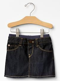Pull-on denim mini skirt