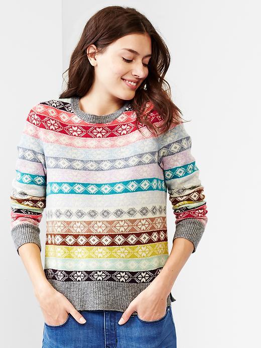 Fair Isle Stripe Wool Sweater