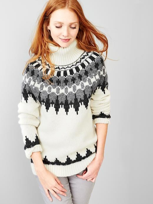Oversized Fair Isle Turtle-neck Sweater