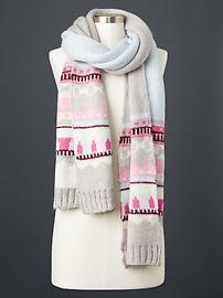 Fair isle mohair scarf