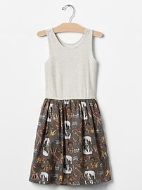 Print mix-fabric tank dress