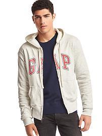 Logo sueded zip hoodie