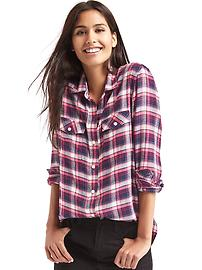 Soft plaid combo boyfriend shirt