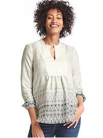 Maternity shirred split-neck shirt