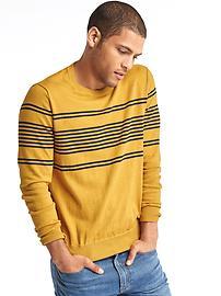 Chest-stripe crew sweater