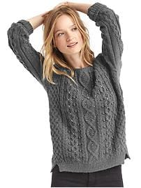 Beaded cable knit sweater