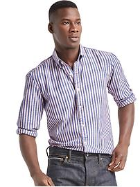 Indigo twill stripe standard fit shirt