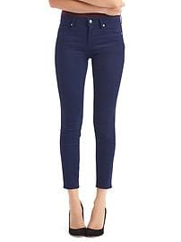 Mid rise sateen true skinny ankle jeans