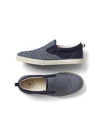 Railroad stripe slip-on sneakers