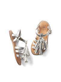 Sandales spartiates à pampilles et à fils métalliques