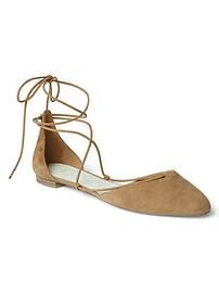Suede lace-up d'Orsay flats