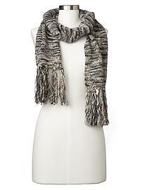 Multi-color marled fringe scarf