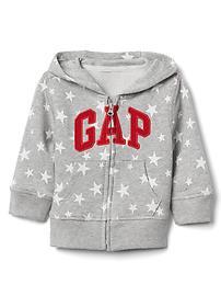 Logo starry zip hoodie