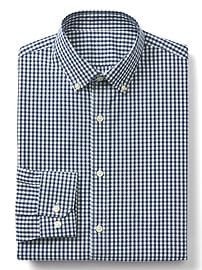 Stretch Poplin gingham standard fit shirt
