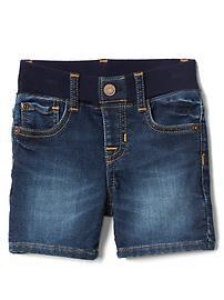 Pull-on super soft denim shorts