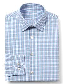 Stretch Poplin plaid slim fit shirt