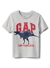 T-shirt à logo à motifs de ville et dinosaure