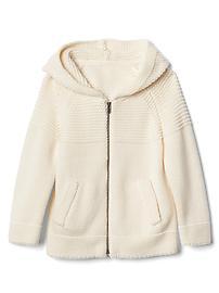 Garter zip sweater hoodie