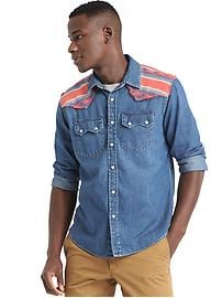 Denim southwestern shirt