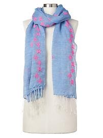 Linen-cotton embroidered scarf