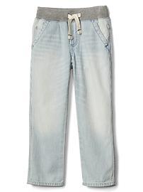 Railroad stripe pull-on straight jeans