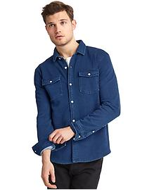 French terry indigo standard fit shirt