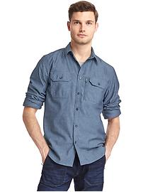 Technical worker denim shirt
