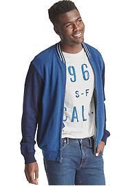 French terry indigo bomber jacket