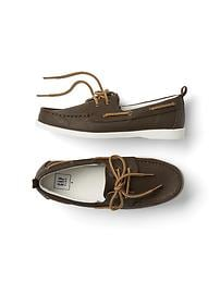 Faux leather boat shoes
