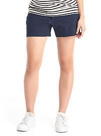 Maternity inset panel twill summer shorts