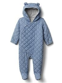 Quilted chambray bear one-piece