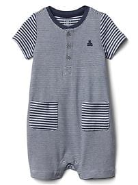 Favorite stripe pocket shorty one-piece